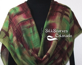 Hand Painted Silk Wool Scarf Brown Green Warm Silk-Wool Scarf CITY HUNTER GIRL, by Silk Scarves Colorado. Select Your Size! Birthday Gift.