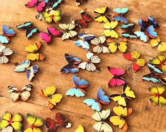 Wholesale Colorful Wooden Butterfly Buttons - Painted Colorful Butterflies Button (20pcs)
