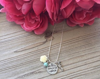 Hand Stamped Pistol Packin Mama necklace - pistol necklace-Gift