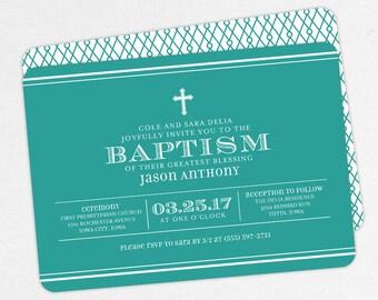 Boy Baptism Invitation, Christening Invitation, Printable Baptism Invitation, Invitation PDF, DIY Invitation, Classic, Teal, Simple, Jason