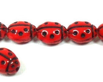 Czech Glass Lady Bug Beads 20ct 9mm 24953