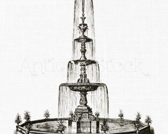 Digital Download 'Iron Fountain' Vintage Printable PNG Clipart for Collages, Scrapbook, Invitations...