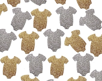 Glitter Silver or Gold Onesie Confetti 50CT, Baby Shower Decorations, Party Supplies - No392