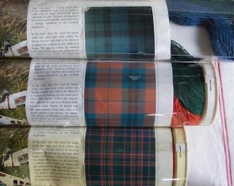Vintage Scottish Scotland Highlands Clan Dress Stewart MacKay MacPherson MacDonald Tartan Needlepoint Tartanpoint Pillow Kit Upholstery