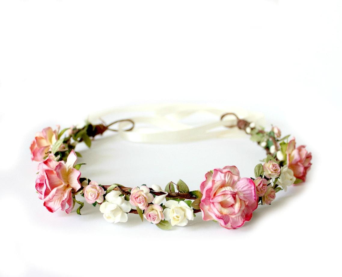 Strawberry pink flower crown rustic wedding zoom izmirmasajfo Images