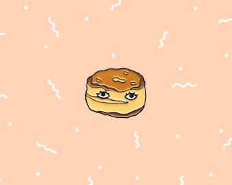 "Buttermilk Biscuit with Eyes 1"" Enamel Pin - Breakfast Club Food Brunch Lapel Pin"