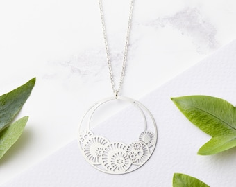 Long Silver Necklace - Circle Necklace, Long Necklace, Medallion Necklace, Disc Necklace, Hoop Necklace, Delicate Necklace, Gifts for her