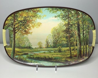 vintage scenic lacquerware tray Made in Japan