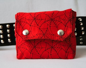 Belt Pouch Red Spiderweb - screen printed punk hip bag