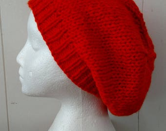 Orange Slouch Knitted Hat or Beret