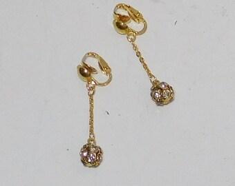 Rhinestone Clip On Earrings, Long, Dangle, Drop, Clear Rhinestones, Rhinestone Ball, Chain, Gold Tone, Art Nouveau, Avant Garde, Boho