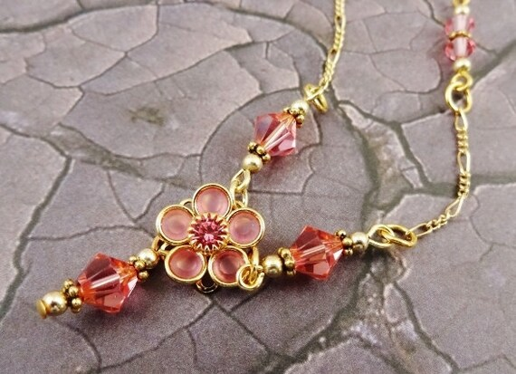 Swarovski Crystal Flower Necklace and Earrings Set in Rose Pink and 14k Gold Fill