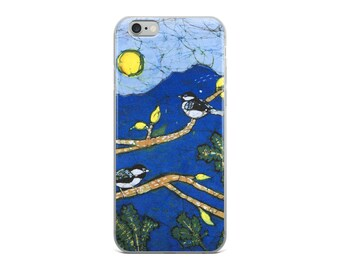 iPhone Case Featuring Two Chickadee Birds In The Sunshine On Trees Batik Print