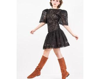 Vintage black velvet party dress / 1980s flocked net rose pattern illusion mini / Huge puff sleeves dropped waist tiered poof skirt / S M