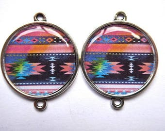 Connectors silver cabochons silicone pattern Native American 2.5 cm diameter