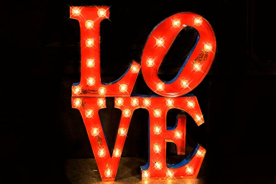 Love sculpture letter package marquee light