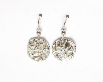 Sterling Thyme earrings, herb accessories, botranical replicas, leaf imprints, leaf jewelry