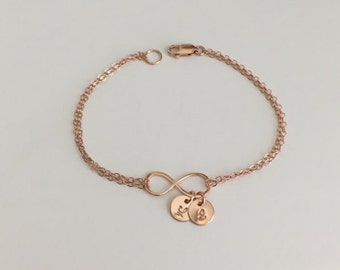 Initial Infinity Bracelet. Personalized Rose Gold Infinity Bracelet. 1.2.3.4 Rose Gold Initials. Layering Bracelet. Bridesmaid Bracelet.