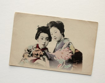 Hand-Tinted Japanese RPPC - Real Photo Postcard - Vintage Geisha Maiko Postcard