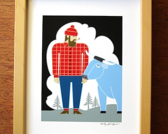 Paul Bunyan and Babe Blue Ox Art print