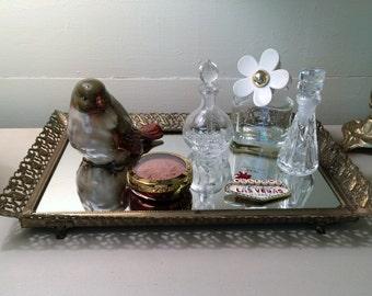 Tray Mirrored Tray Perfume Tray Vanity Mirror Rectangular Tray Make Up Tray Dressing Mirror Footed Tray Vintage Gold Tray Filigree Tray