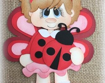 Lady Buggies Girl Premade Scrapbooking Embellishment Paper Piecing