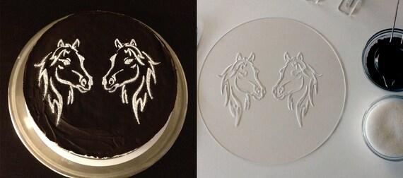 Pferd-Kuchen-Runde-Schablone zum Kuchen Dekoration.