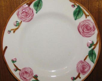 ON SALE Metlox CAMELLIA 4986 Lot of 3 Bread & Butter Plates Pink Flowers Green Leaves Brown Trim Dinnerware Excellent Condition