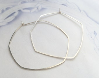 Large silver hoop earrings, sterling silver organic hoops, large delicate hoops, hexagon hoops, simple hoops earrings, ready to ship