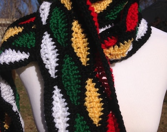 Handmade Crochet Wave Stitch Stained Glass Scarf,  7 1/2 Feet Long | Free Shipping!
