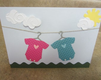 Twins Baby card Baby Shower card  Congratulations on Your Pregnancy card