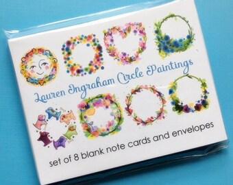 Lauren Ingraham Circle Paintings blank notecards handmade set of 8 flowers hearts animals