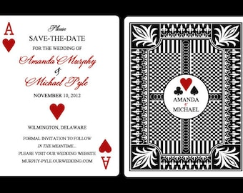 Set of 25+ 4.25 x 5.50 Flat Panel Vegas Poker Themed Save the Date Cards