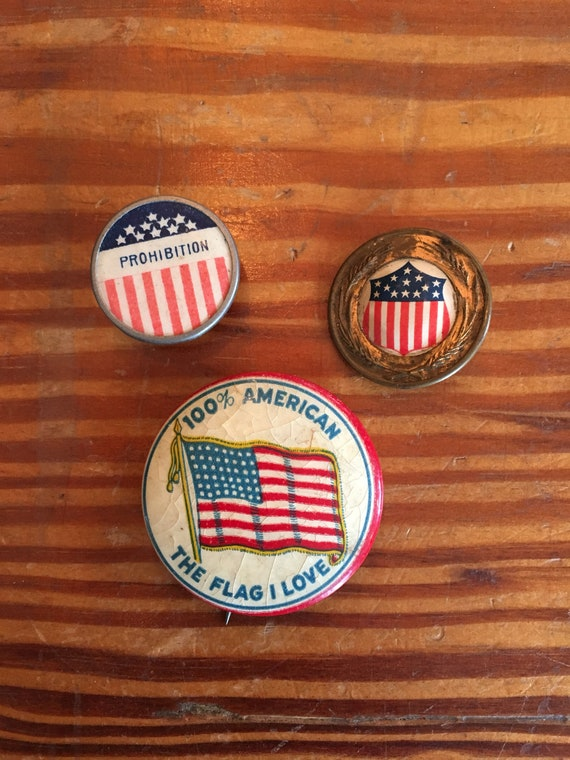 Set Of Three American Flag Buttons, Vintage Novelty Buttons, Red White And Blue, Americana Decor