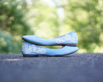 Light Blue Ballet Flats,Wedding Flats,Blue Flats,Bridal Shoes,Bridesmaid,Low  Wedding,Gift,Something Blue,Blue Bridal Flats With Ivory Lace