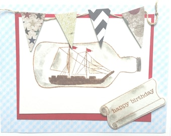Ship In a Bottle Birthday Card