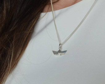 Sterling silver origami boat necklace - Solid origami paper boat - 3D Origami boat - Sterling silver paper boat