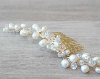 Freshwater Pearl Bridal Hair Comb pearl wedding comb pearl hair accessory flower pearl comb for wedding bridal hair piece crystal hair comb