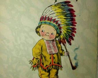 1915 Vintage Valentine Postcard- Indian, Campbells Kid