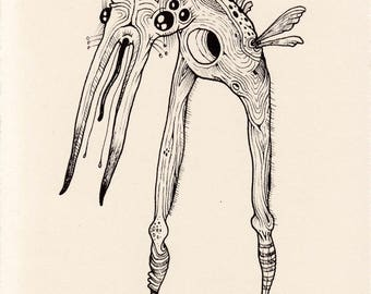 original pen and ink drawing fantasy illustration small insect wild imaginary beast whimsical creature artwork