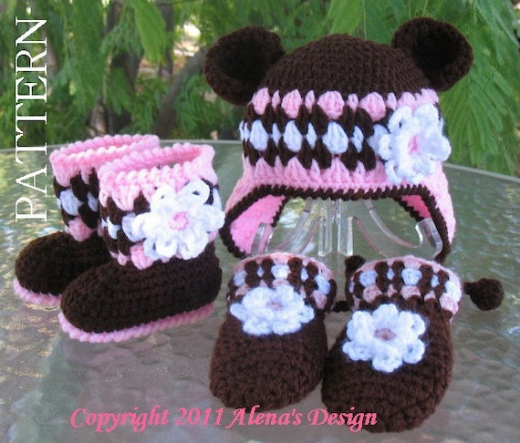 Crochet PATTERN Set - Bear Hat , Baby Booties and Baby Mittens - Baby Girl - Winter Booties - Brown Booties - Slippers - Ear Flap Hat Child