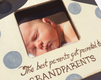 Polka Dot Grey Ultrasound Grandparent Picture Frame Ultrasound Sonogram New Baby Announcement