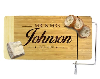 Engraved Cheese Board Set, Gift for Couples, Wine and Cheese Gift, Cheese Board Personalized, Monogrammed Cheese Board, New Home Gift