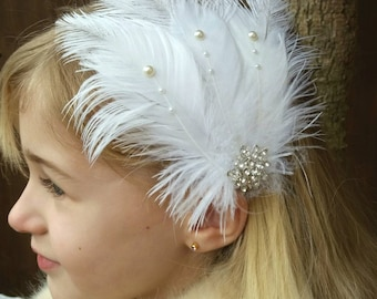 Feather Headband,Adult,Child, Hair Clip, Bridal Headpiece,Bridesmaid,Wedding, Gatsby,Vintage,Christening, Fascinator, Art Deco,Uk