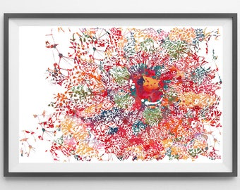 Embryonic stem cells differentiating into neurons watercolor print Neurology poster neural differentiation of embryonic stem cells ES print