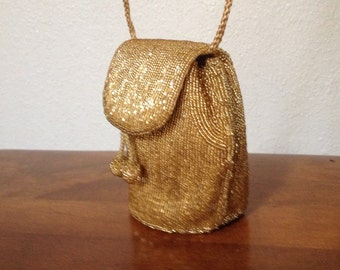 Vintage Beaded Crossbody Purse Gold Drawstring Pom Pom