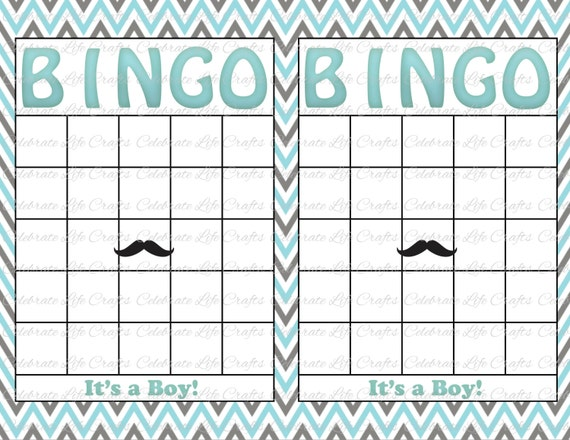 Blank Baby Shower Bingo Cards   Mustache Theme   Printable Party Boy    Instant Download   Aqua Gray Chevron B002