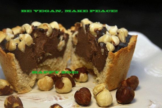 Vegan Delicious Creamy Hazelnut chocolate  Baby Cheesecakes, love, animal free cruelty,no eggs,no dairy. Perfect for Valentine's Day.