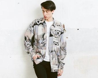 Vintage 90s Men Shirt . Men's Long Sleeve Abstract Print Shirt Patterned 90s Shirt Vacation Shirt Boyfriend Gift . size Medium M