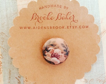 One Of A Kind ~ Hand Made broach featuring hand painted rose and greenery By Brooke Baker of Aidensbrook